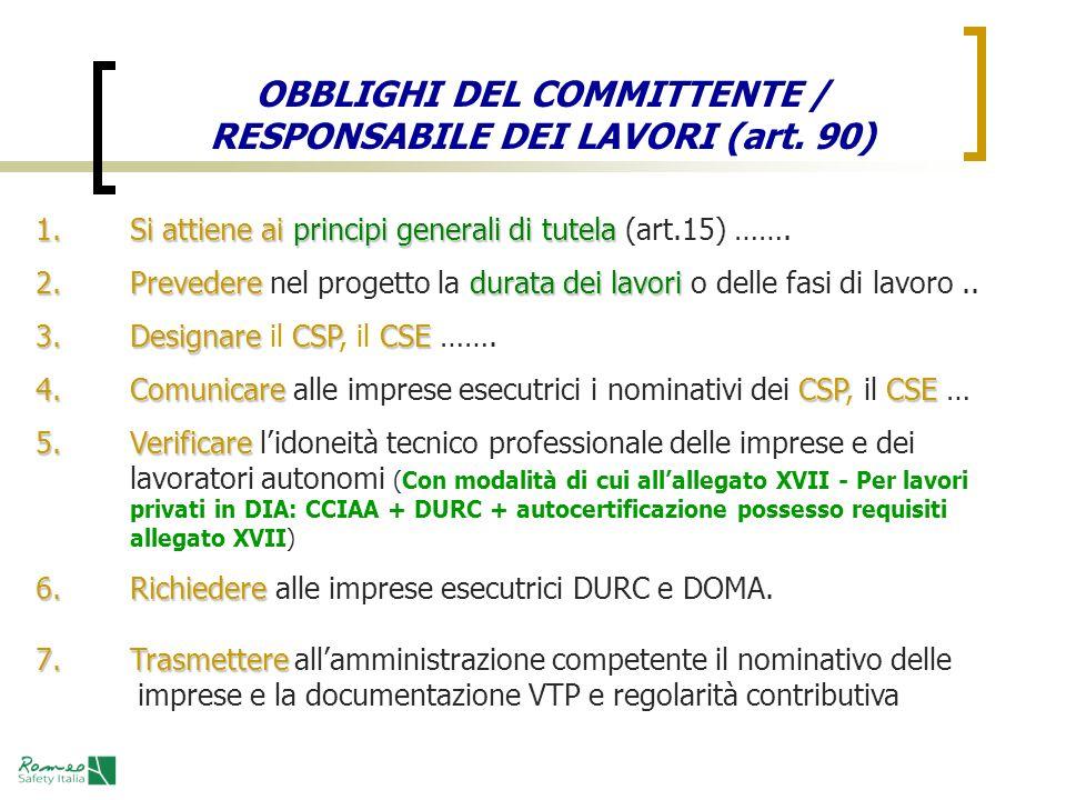 OBBLIGHI DEL COMMITTENTE / RESPONSABILE DEI LAVORI (art. 90)