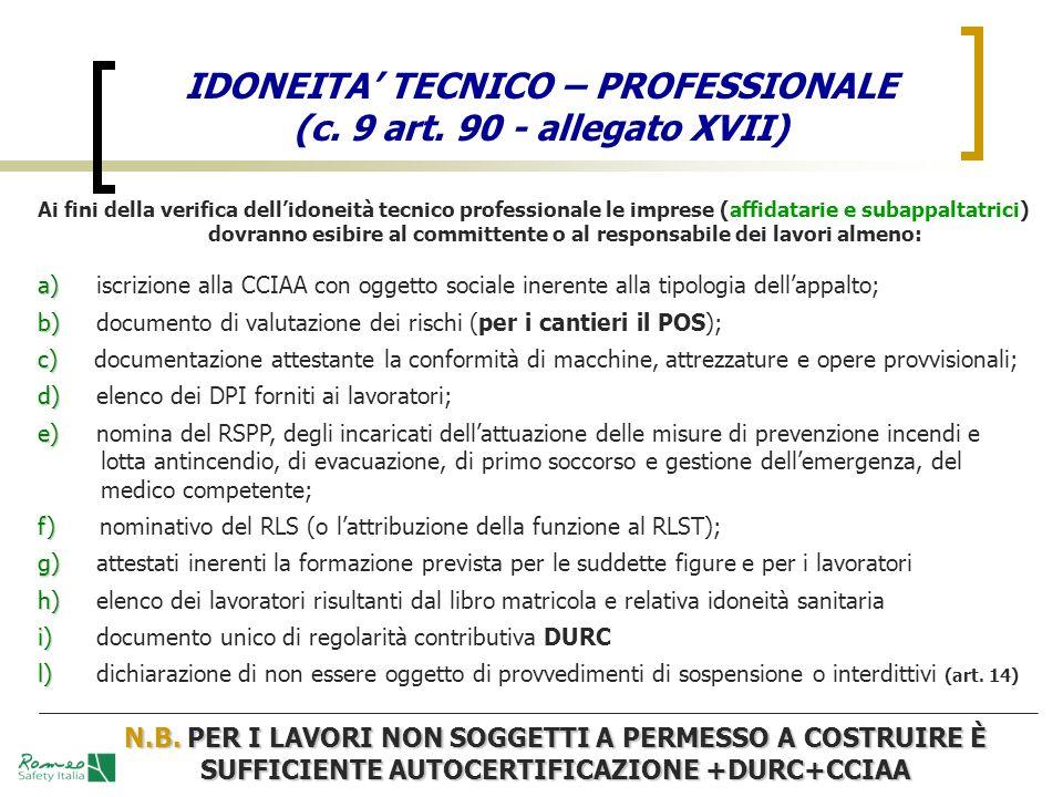 IDONEITA' TECNICO – PROFESSIONALE (c. 9 art. 90 - allegato XVII)