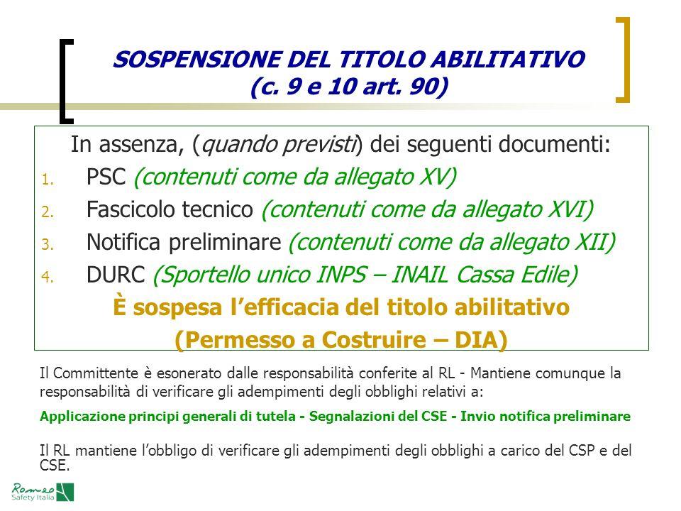 SOSPENSIONE DEL TITOLO ABILITATIVO (c. 9 e 10 art. 90)