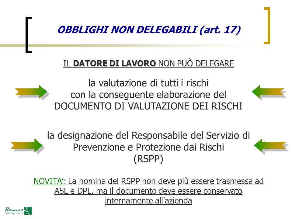 OBBLIGHI NON DELEGABILI (art. 17)