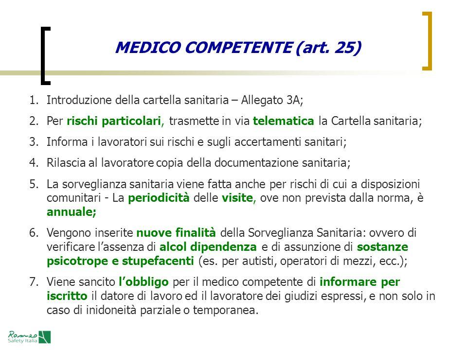 MEDICO COMPETENTE (art. 25)