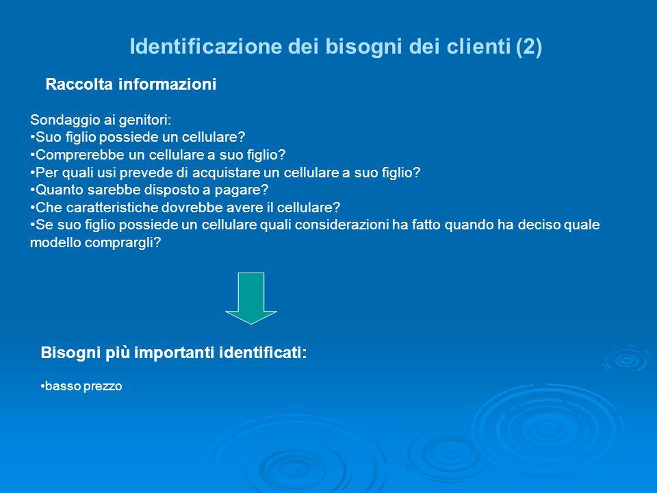 Identificazione dei bisogni dei clienti (2)