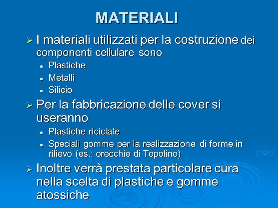 MATERIALI I materiali utilizzati per la costruzione dei componenti cellulare sono. Plastiche. Metalli.