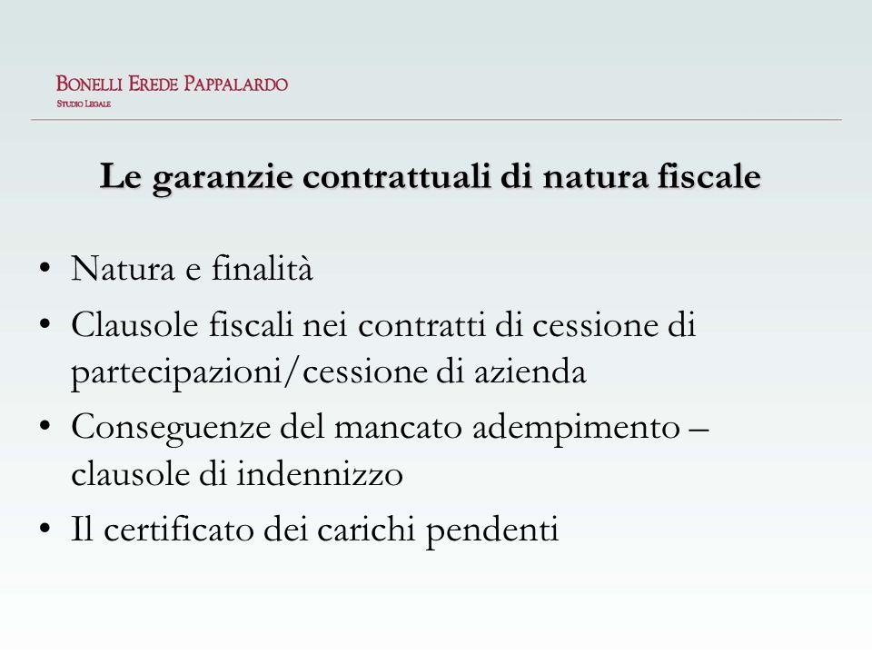 Le garanzie contrattuali di natura fiscale
