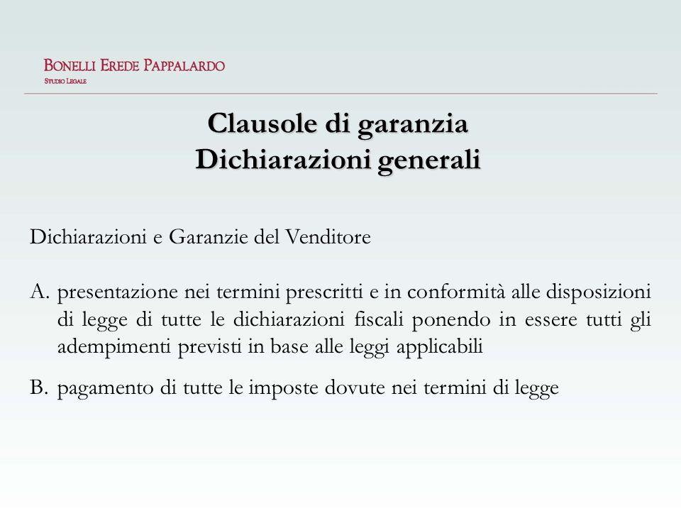 Clausole di garanzia Dichiarazioni generali