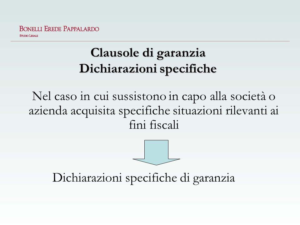 Clausole di garanzia Dichiarazioni specifiche