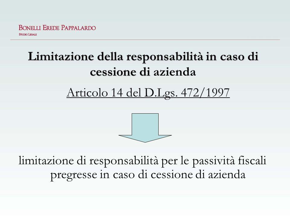 Limitazione della responsabilità in caso di cessione di azienda