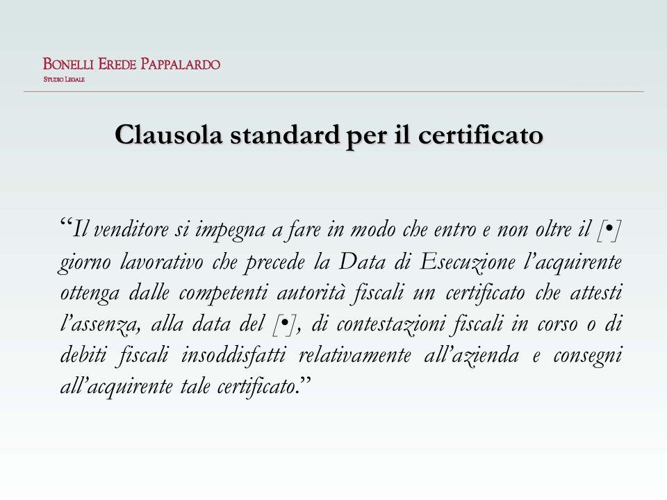 Clausola standard per il certificato