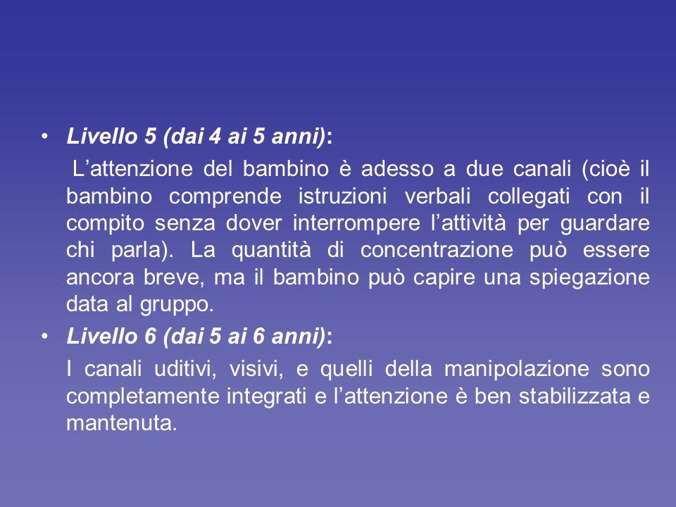 Livello 5 (dai 4 ai 5 anni):