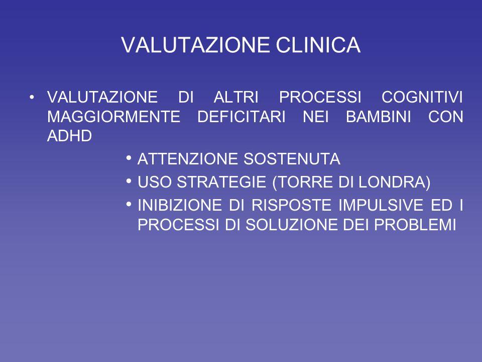 VALUTAZIONE CLINICA VALUTAZIONE DI ALTRI PROCESSI COGNITIVI MAGGIORMENTE DEFICITARI NEI BAMBINI CON ADHD.