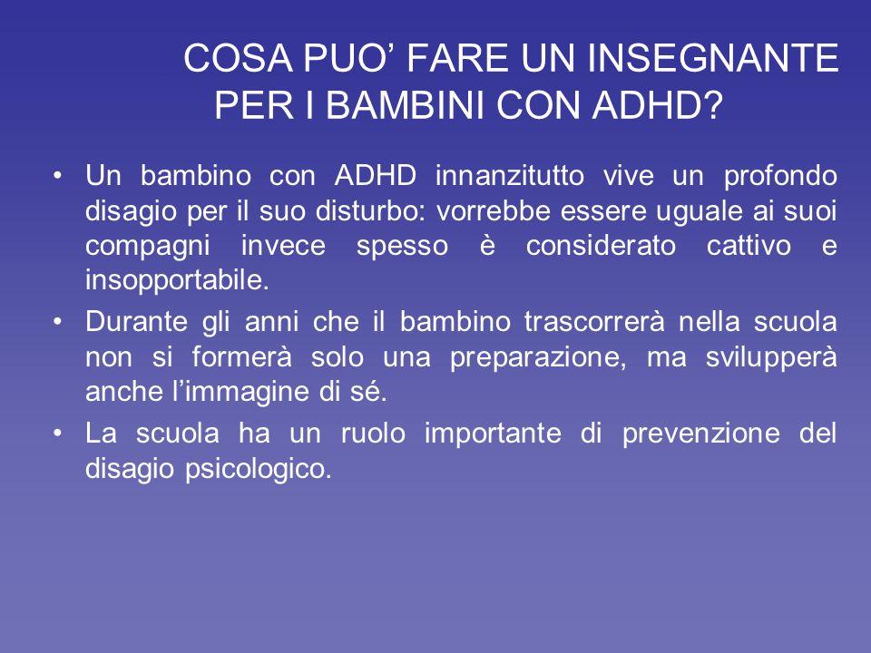 COSA PUO' FARE UN INSEGNANTE PER I BAMBINI CON ADHD