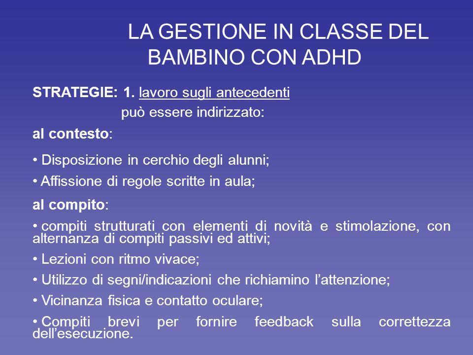 LA GESTIONE IN CLASSE DEL BAMBINO CON ADHD