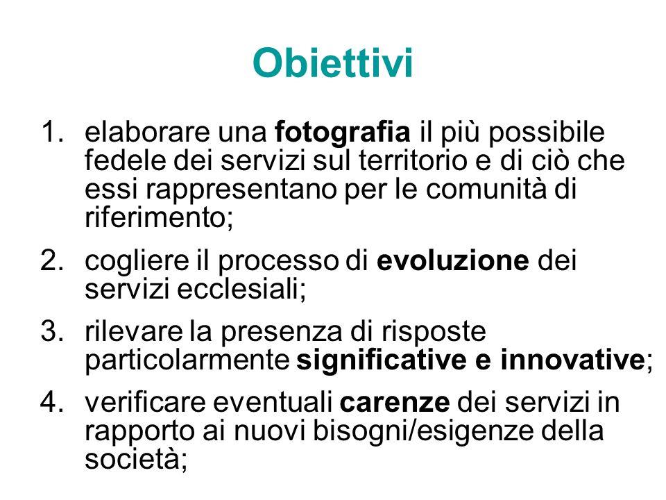 Obiettivi elaborare una fotografia il più possibile fedele dei servizi sul territorio e di ciò che essi rappresentano per le comunità di riferimento;