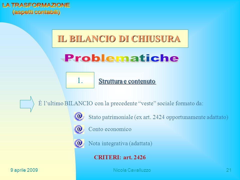 Problematiche IL BILANCIO DI CHIUSURA 1. LA TRASFORMAZIONE