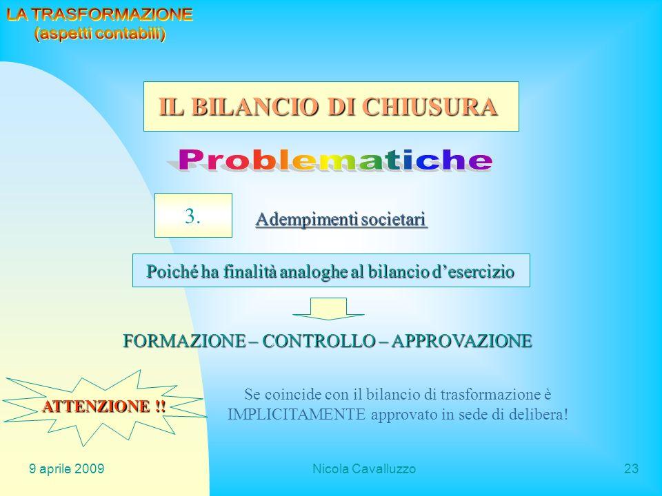 Problematiche IL BILANCIO DI CHIUSURA 3. LA TRASFORMAZIONE