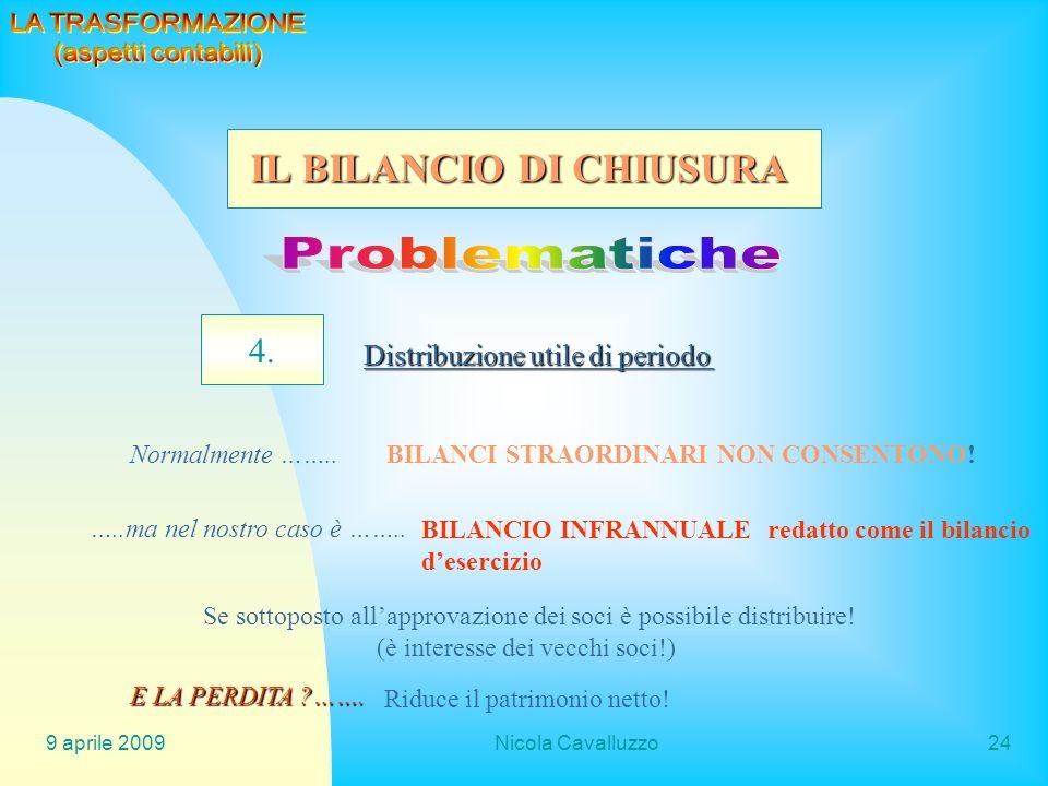 Problematiche IL BILANCIO DI CHIUSURA 4. LA TRASFORMAZIONE