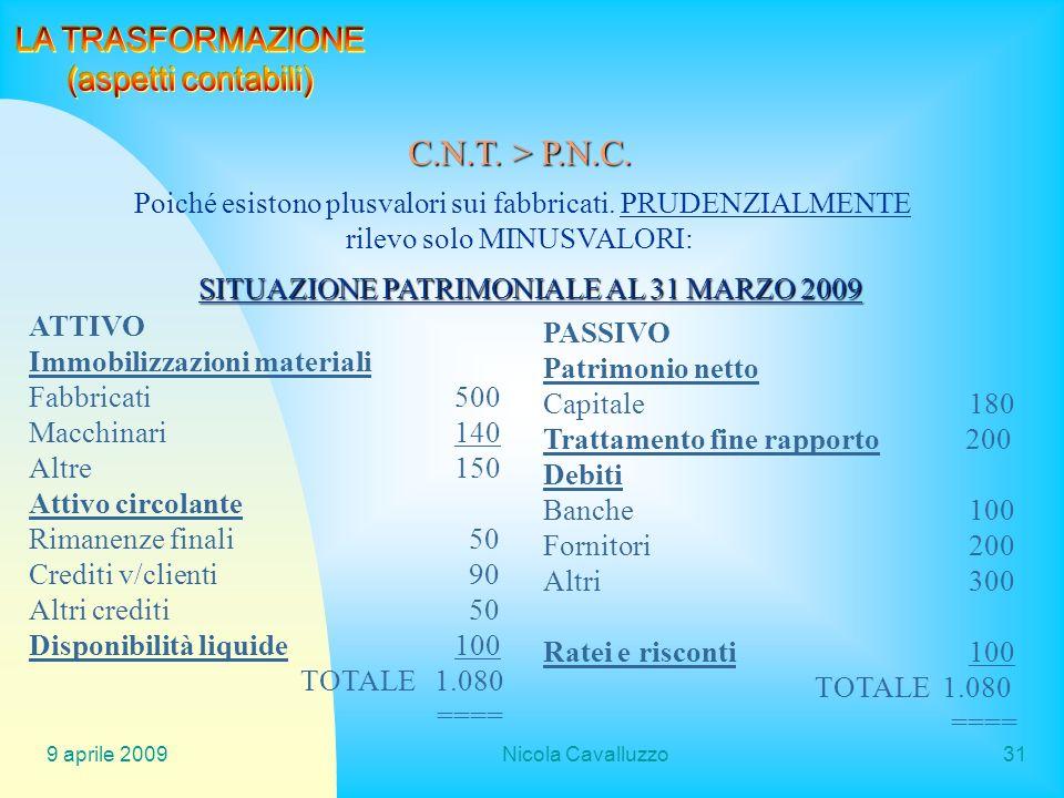 C.N.T. > P.N.C. LA TRASFORMAZIONE (aspetti contabili)