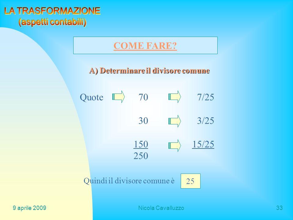 COME FARE Quote 70 7/25 30 3/25 150 15/25 250 LA TRASFORMAZIONE
