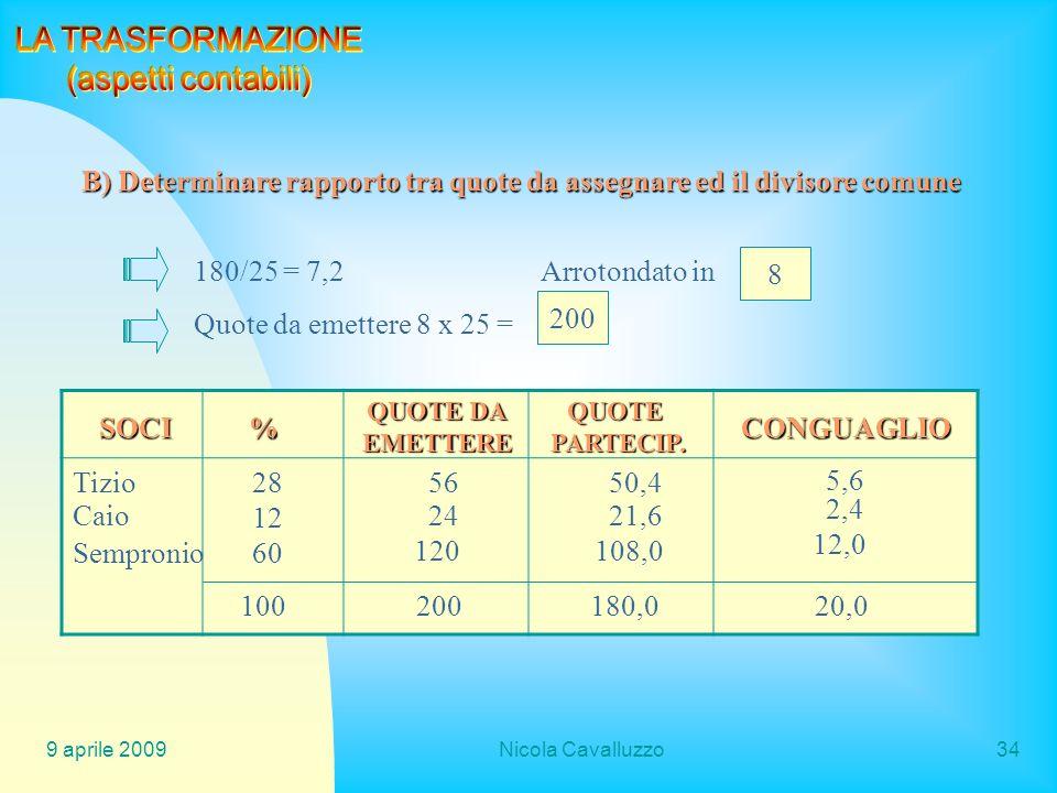 B) Determinare rapporto tra quote da assegnare ed il divisore comune