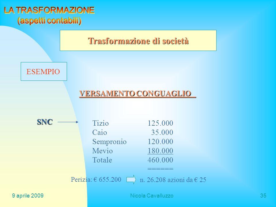 Trasformazione di società VERSAMENTO CONGUAGLIO