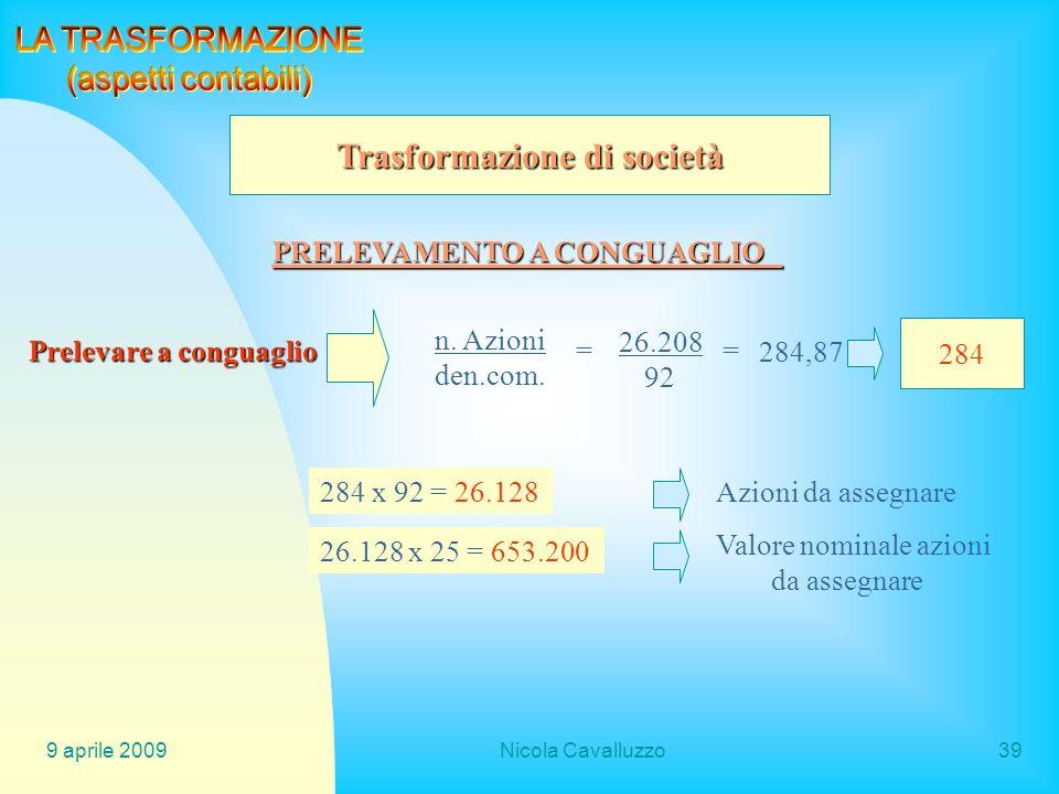 Trasformazione di società PRELEVAMENTO A CONGUAGLIO