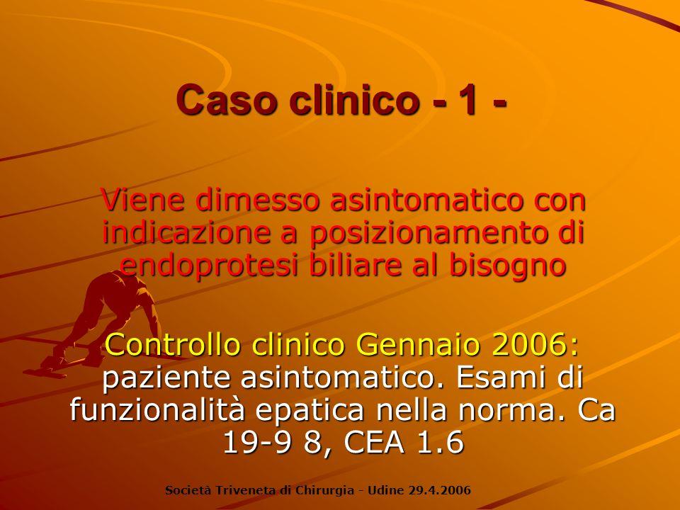 Caso clinico - 1 -Viene dimesso asintomatico con indicazione a posizionamento di endoprotesi biliare al bisogno.