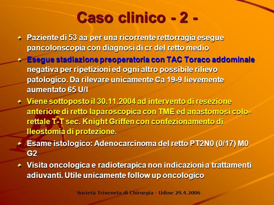 Caso clinico - 2 -Paziente di 53 aa per una ricorrente rettorragia esegue pancolonscopia con diagnosi di cr del retto medio.
