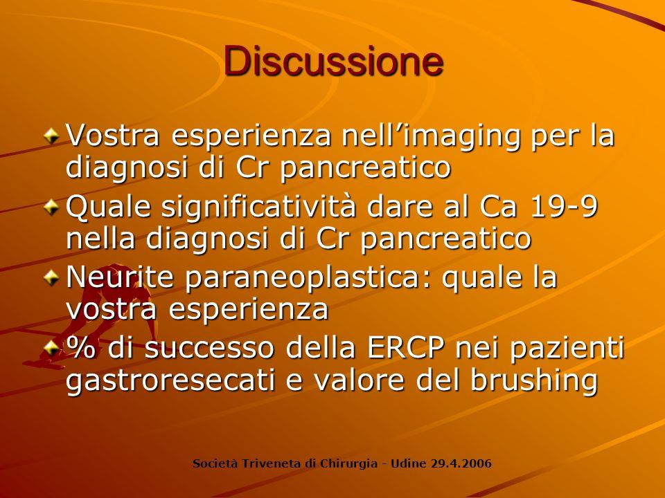 DiscussioneVostra esperienza nell'imaging per la diagnosi di Cr pancreatico. Quale significatività dare al Ca 19-9 nella diagnosi di Cr pancreatico.