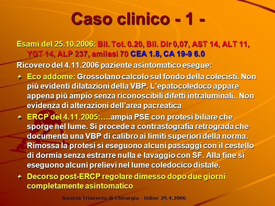 Caso clinico - 1 - Esami del 25.10.2006: Bil. Tot. 0.20, Bil. Dir 0,07, AST 14, ALT 11, YGT 14, ALP 237, amilasi 70 CEA 1.8, CA 19-9 6.0.
