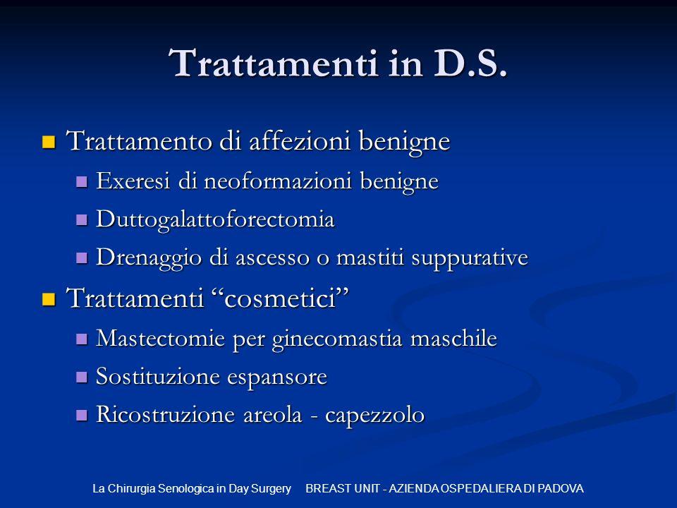 Trattamenti in D.S. Trattamento di affezioni benigne