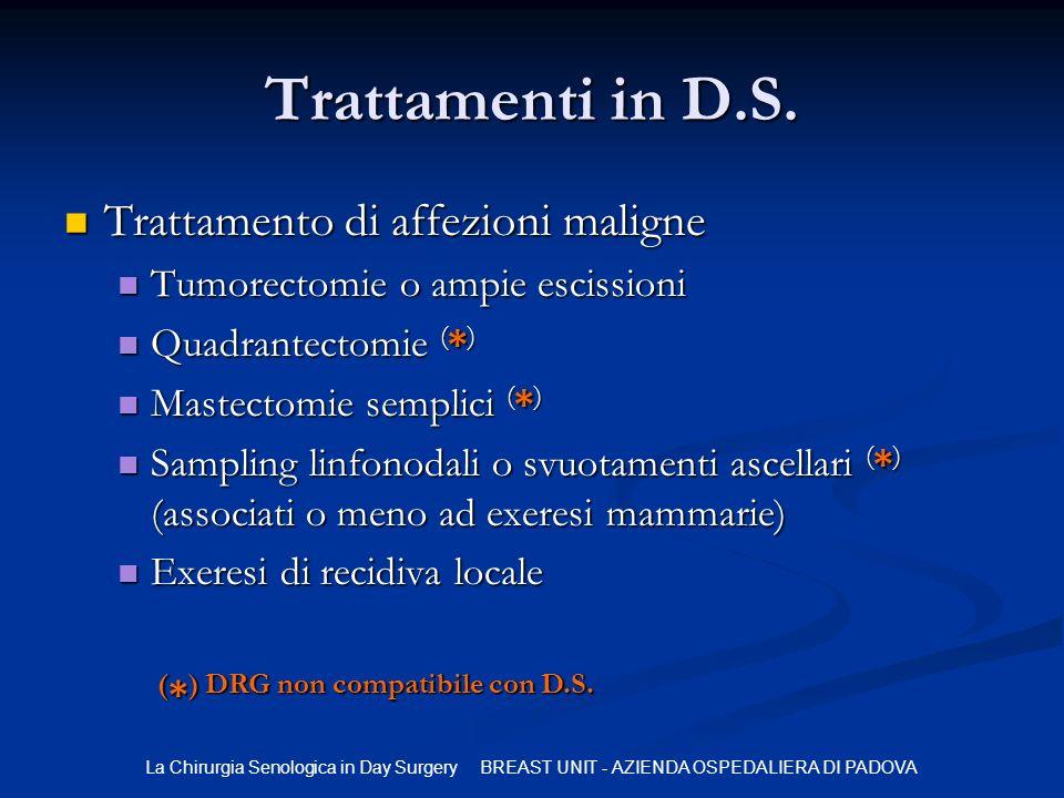 Trattamenti in D.S. Trattamento di affezioni maligne