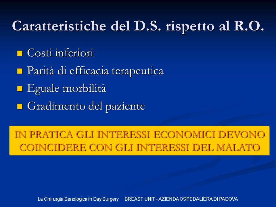 Caratteristiche del D.S. rispetto al R.O.