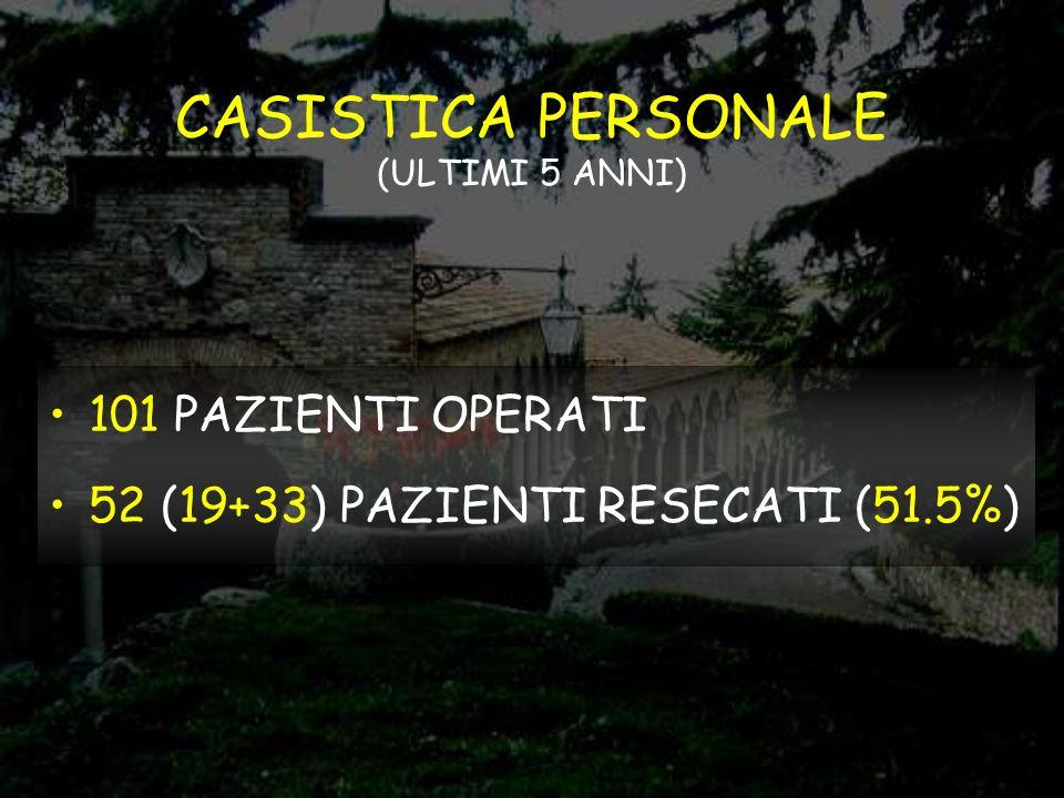 CASISTICA PERSONALE (ULTIMI 5 ANNI)