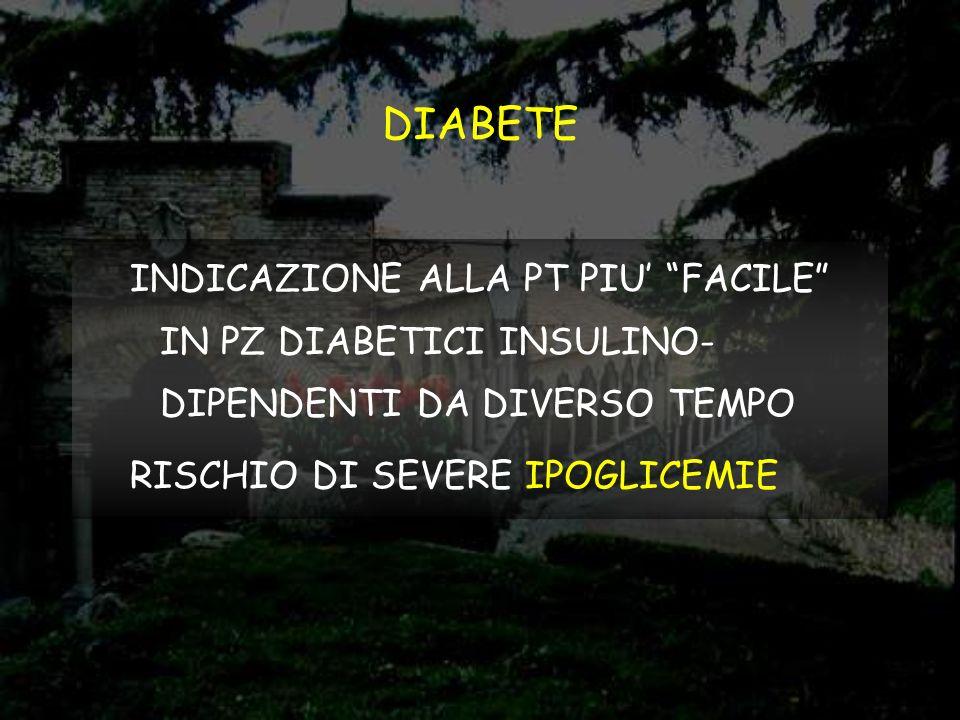 DIABETE INDICAZIONE ALLA PT PIU' FACILE IN PZ DIABETICI INSULINO-DIPENDENTI DA DIVERSO TEMPO.