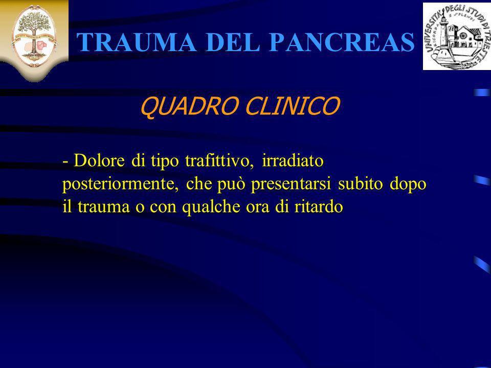 TRAUMA DEL PANCREAS QUADRO CLINICO