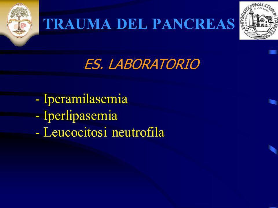 TRAUMA DEL PANCREAS ES. LABORATORIO - Iperamilasemia Iperlipasemia