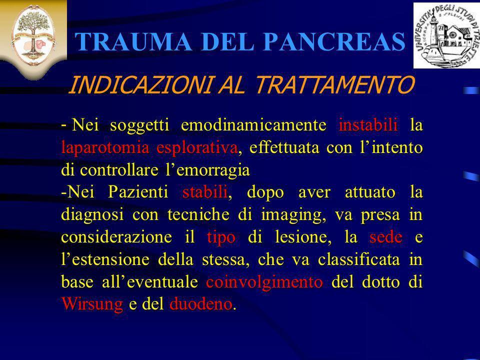 TRAUMA DEL PANCREAS INDICAZIONI AL TRATTAMENTO