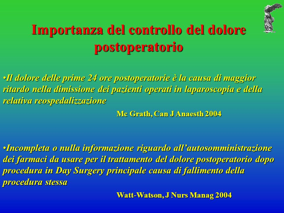 Importanza del controllo del dolore postoperatorio