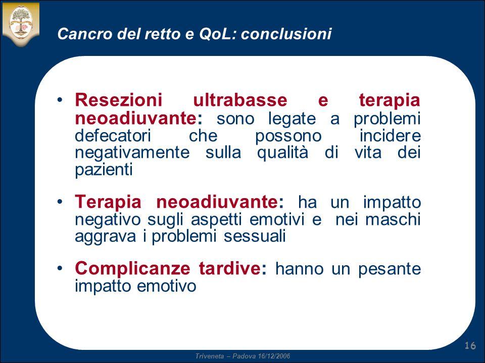 Cancro del retto e QoL: conclusioni