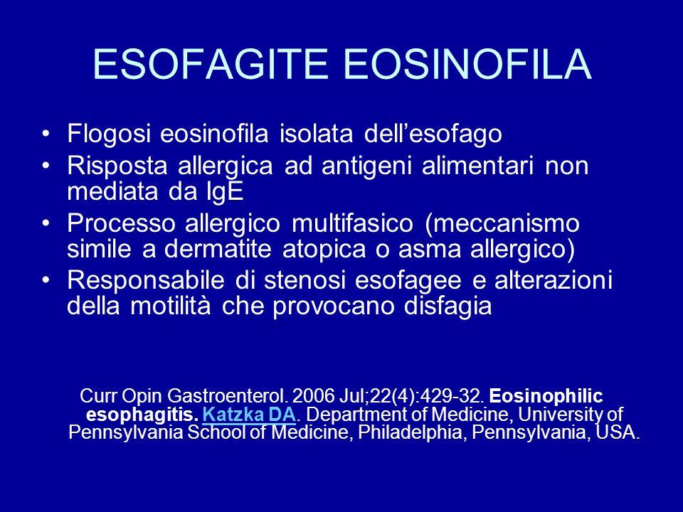 ESOFAGITE EOSINOFILA Flogosi eosinofila isolata dell'esofago