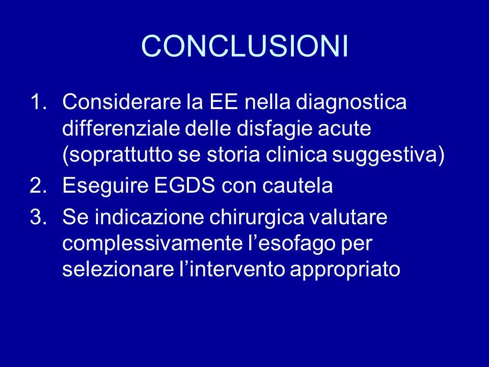 CONCLUSIONI Considerare la EE nella diagnostica differenziale delle disfagie acute (soprattutto se storia clinica suggestiva)