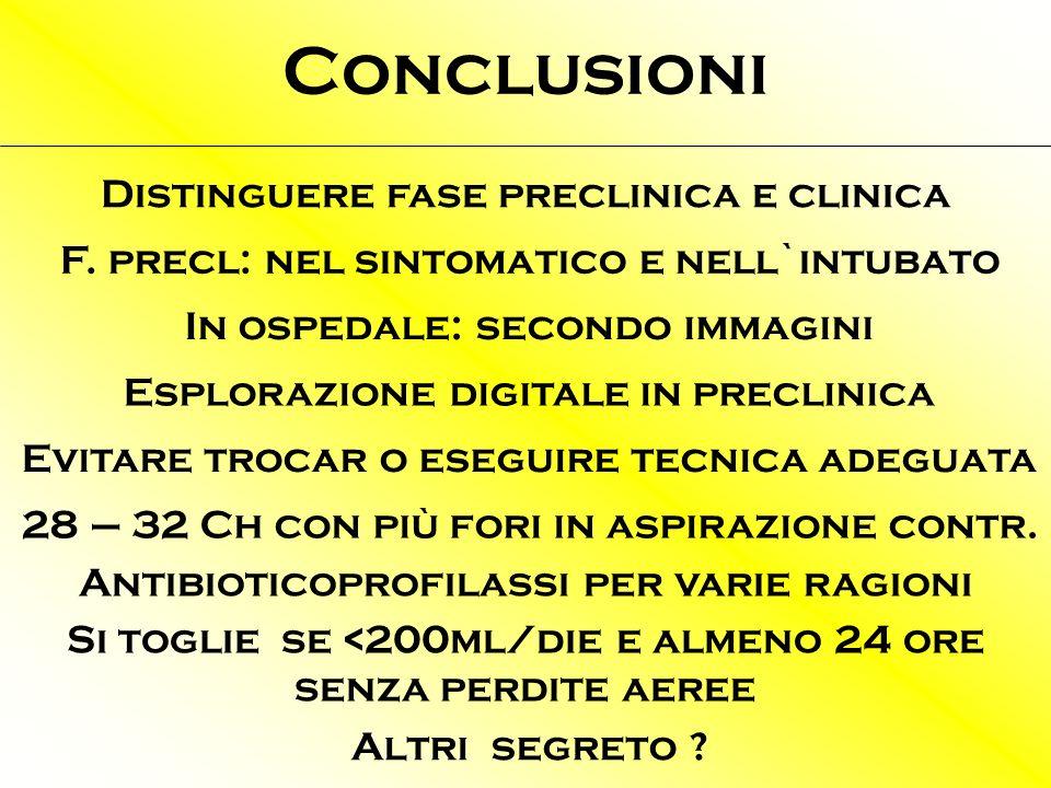 Conclusioni Distinguere fase preclinica e clinica