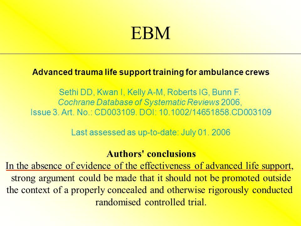 Advanced trauma life support training for ambulance crews