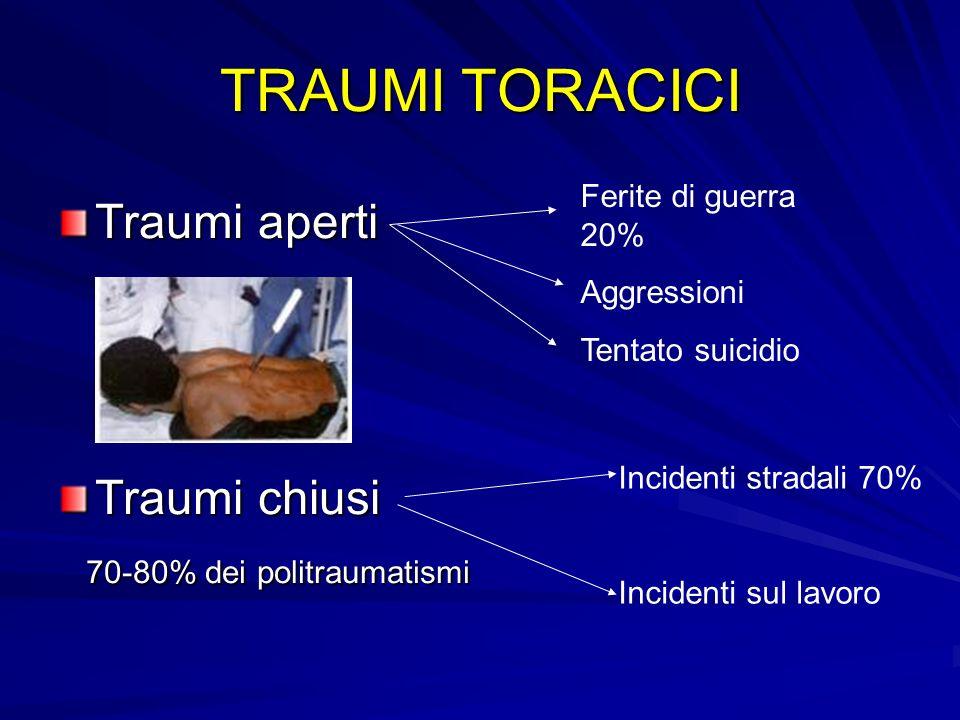 TRAUMI TORACICI Traumi aperti Traumi chiusi 70-80% dei politraumatismi