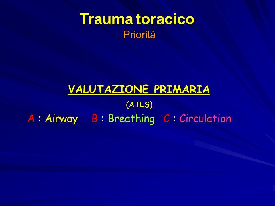 Trauma toracico Priorità VALUTAZIONE PRIMARIA