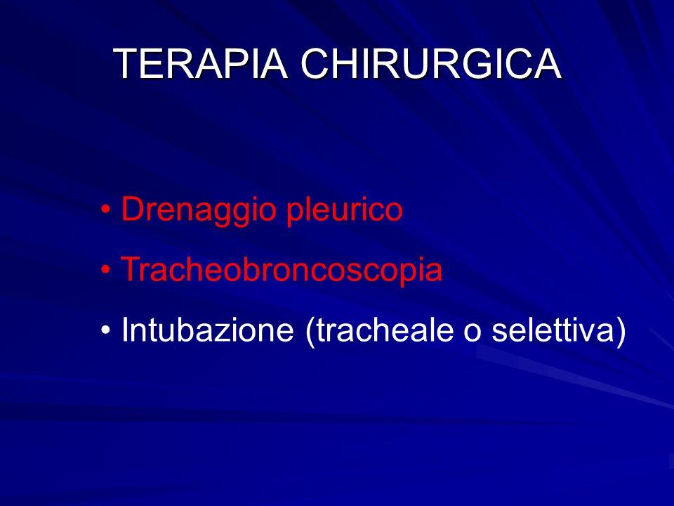 TERAPIA CHIRURGICA Drenaggio pleurico Tracheobroncoscopia