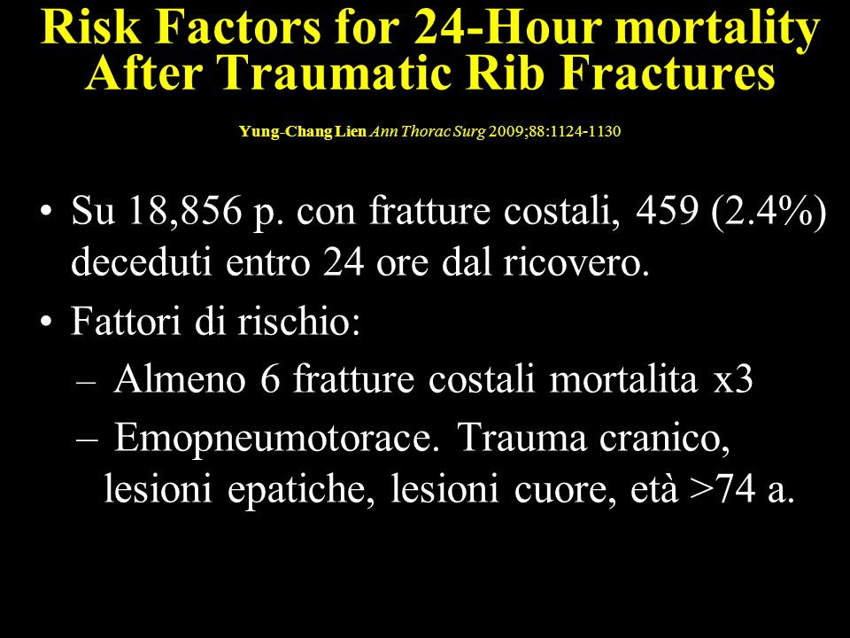 Risk Factors for 24-Hour mortality After Traumatic Rib Fractures Yung-Chang Lien Ann Thorac Surg 2009;88: