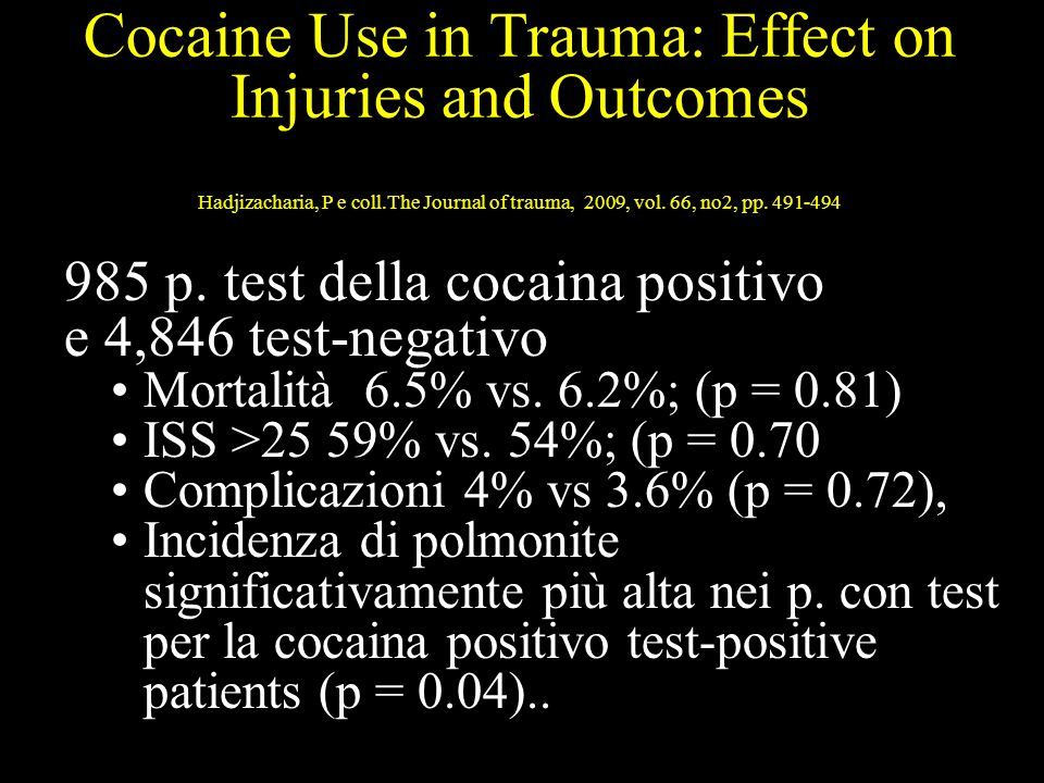 Cocaine Use in Trauma: Effect on Injuries and Outcomes Hadjizacharia, P e coll.The Journal of trauma, 2009, vol. 66, no2, pp. 491-494