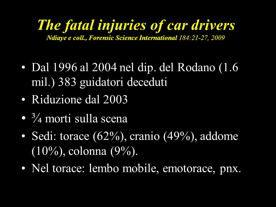 The fatal injuries of car drivers Ndiaye e coll
