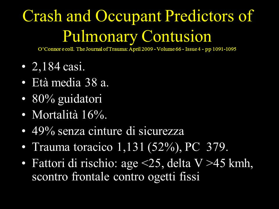 Crash and Occupant Predictors of Pulmonary Contusion O'Connor e coll